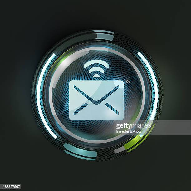 Glowing 3D e-mail message button on dark background.