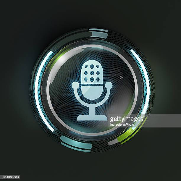 Glowing 3D microphone button on dark background.