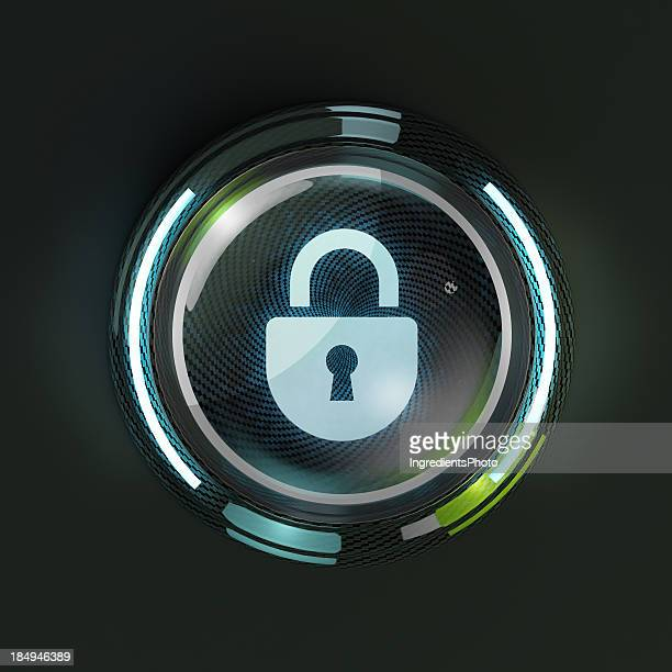Glowing 3D security lock button on dark background.