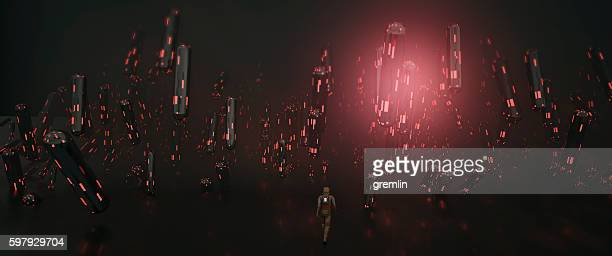 Glowing abstract capsules