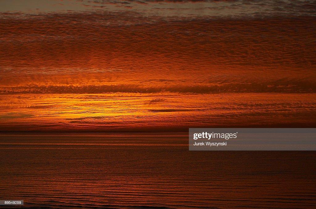 Glowing beach sunset  : Stock Photo