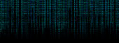 glowing blue binary code matrix background wide banner