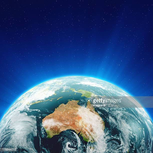 Glowing Blue Earth Australia and New Zealand