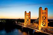 Glowing Bridge at Sunset