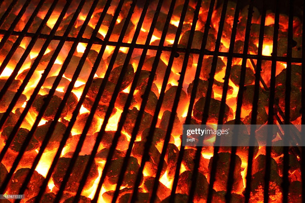 Glowing burning hot barbeque Grill : Stock Photo