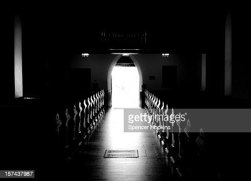 Glowing Church Aisle, Pews Illuminated B&W