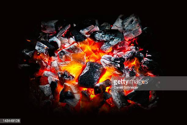 Glowing coals of Barbecue fire