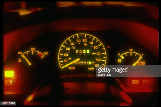 Glowing dashboard w prominent speedometer of 1992 Pontiac Grand Am car re GE contract to supply GM w tiny light bulbs in danger fr more costeffective...