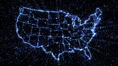 Outline map of US states in glowing blue with exploding streams of binary data illustrating communication, internet and technology
