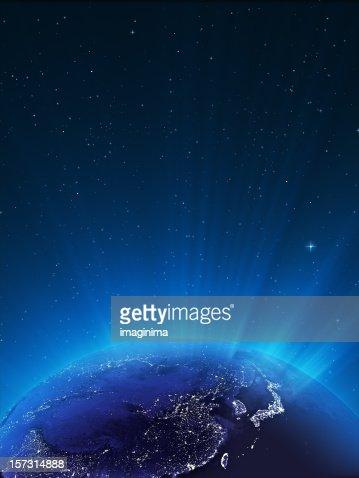 Glowing Globe ar Night Series - East Asia