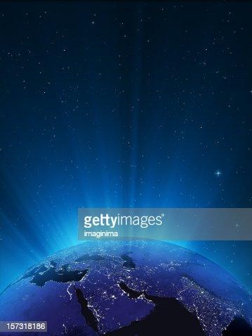 輝く地球の夜のシリーズ-Middle East
