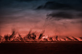 Glowing Lava and Plumes, Volcano Eruption, Iceland