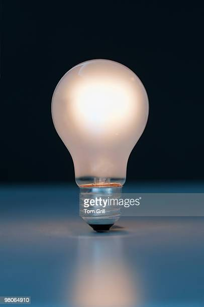 Glowing light bulb alone