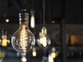 Close uo of glowing light bulbs on beautiful background