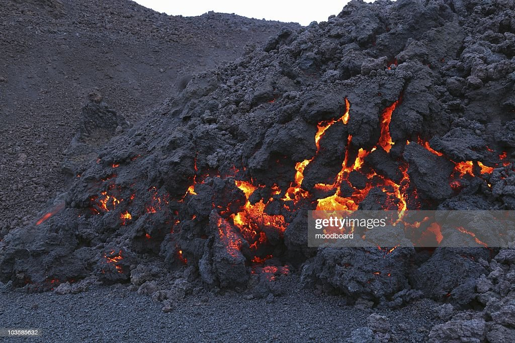 Glowing molten volcanic rock of Eyjafjallajokull,  Fimmvorduhals,  Iceland : Stock Photo