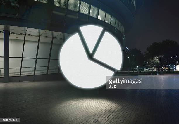 Glowing pie chart symbol in city at night