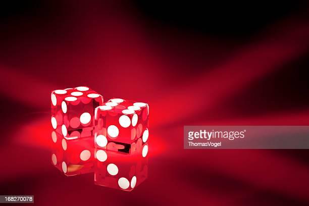 Glowing red acrylic casino dice