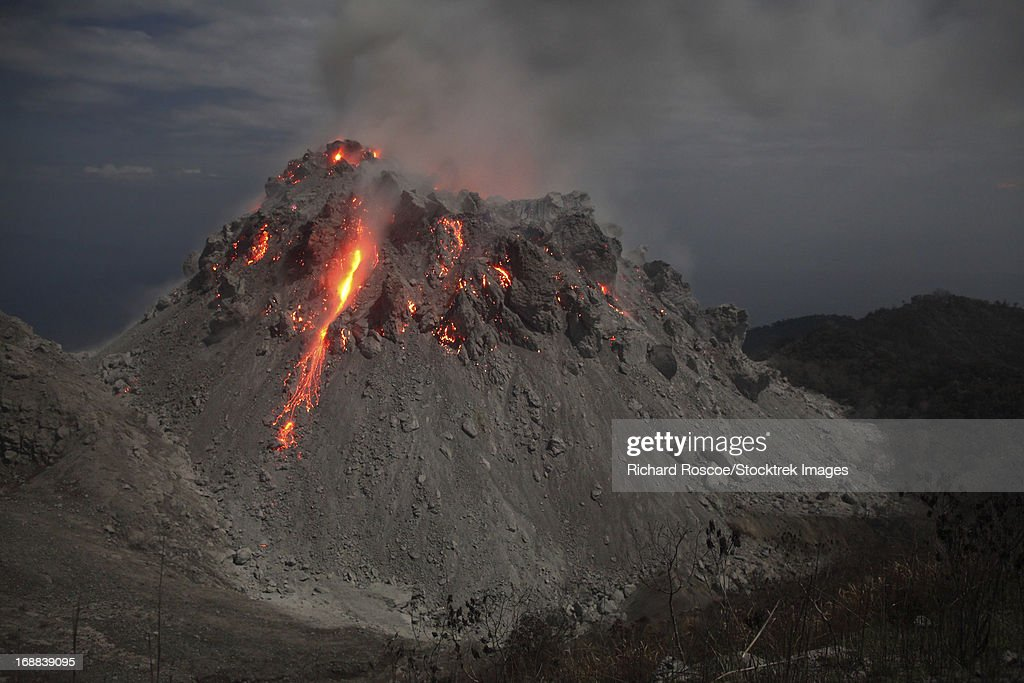 Glowing Rerombola lava dome of Paluweh volcano, Indonesia.