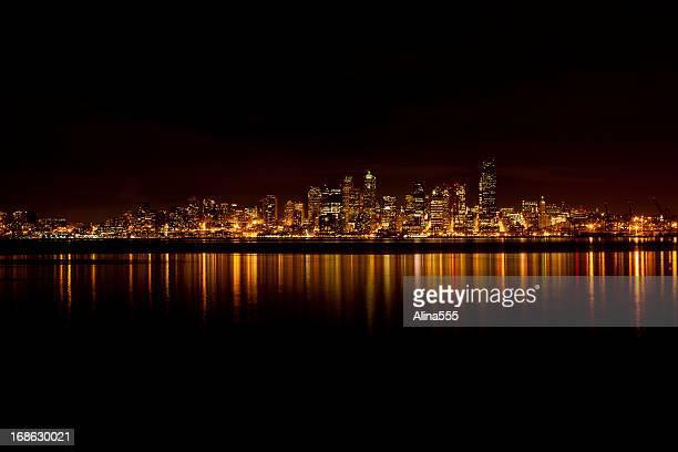 Glowing Seattle skyline at night