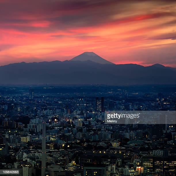 輝く夕日 Fujiyama 東京