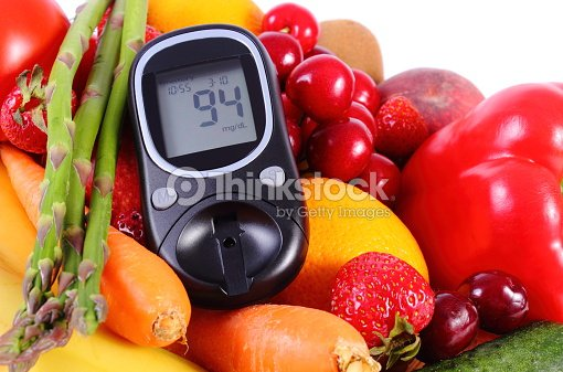 Glucometer with fruits and vegetables, healthy nutrition, diabetes : Stock Photo
