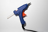 Glue gun blue isolated on white background.