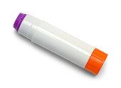Open Purple Glue Stick Isolated on White Background.
