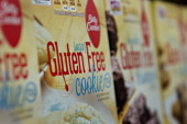 'Gluten Free' appears on the packaging for General Mills Inc Betty Crocker brand cookie mix displayed for sale at a supermarket in Princeton Illinois...