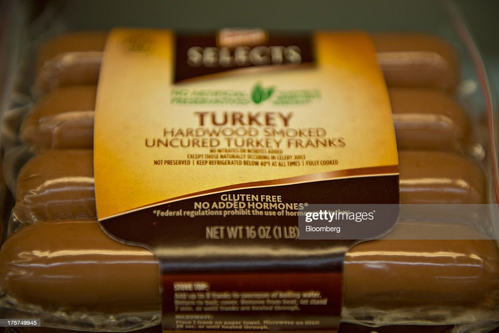 'Gluten Free' appears on the packaging of Kraft Food Co. Oscar Mayer turkey franks displayed for sale at a supermarket in Princeton, Illinois, U.S., on Wednesday, Aug. 7, 2013. The Food and Drug Administration (FDA) is issuing a final rule to define the term 'gluten-free' when voluntarily used in food labeling, according to a notice published in the Aug. 5 Federal Register. Photographer: Daniel Acker/Bloomberg via Getty Images