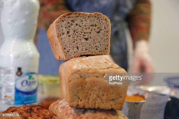 Gluten free bread is seen being sold at a farmers fair with local produce on 23 April 2017
