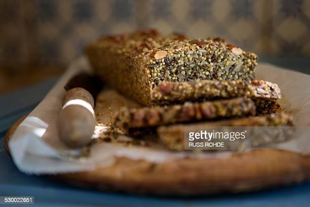 Gluten free seeded bread on kitchen table