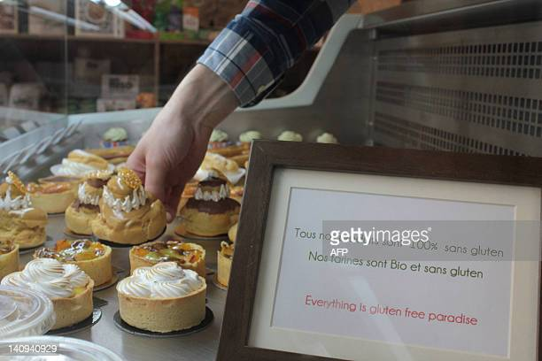 Glutenfree pastries are displayed in a specialized patisserie on March 8 2012 in Paris The intolerance to gluten a protein found in cereals such as...