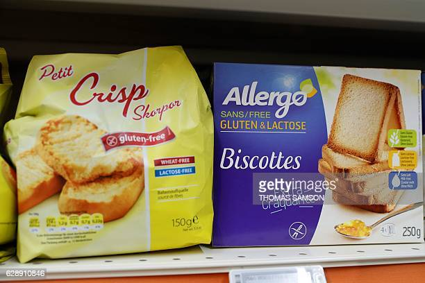 Glutenfree products are pictured in an hypermarket store of French retail giant Carrefour in Villeneuvelagarenne near Paris on December 7 2016 / AFP...