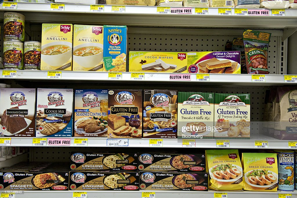 Gluten-free products sit on display for sale at a supermarket in Princeton, Illinois, U.S., on Wednesday, Aug. 7, 2013. The Food and Drug Administration (FDA) is issuing a final rule to define the term 'gluten-free' when voluntarily used in food labeling, according to a notice published in the Aug. 5 Federal Register. Photographer: Daniel Acker/Bloomberg via Getty Images