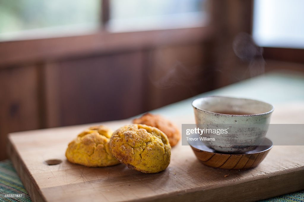 gluten-free scones and a Japanese tea cup