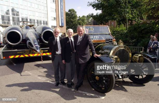 Glyn Bowsher Project Engineer Ron Ayres Aeorodynamicist and Project Director Richard Noble with their car Thrust 2 a new exhibit for Coventry's...