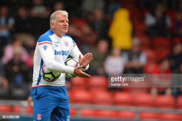 Glyn Hodges manager of Stoke City u23s looks on during the preseason friendly match between Crewe Alexandra and Stoke City at The Alexandra Stadium...