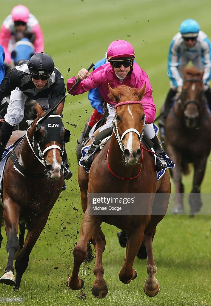 Glyn Schofield riding Japonisme wins race 4 The Coolmore Stud Stakes on Derby Day at Flemington Racecourse on October 31 2015 in Melbourne Australia