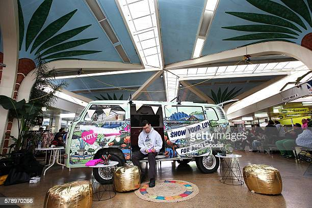 Glyn Walters Auckland Council Elections Planning Manager with the Love Bus at Mangere Town Centre on July 23 2016 in Auckland New Zealand The van is...