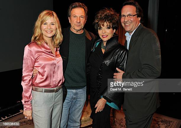 Glynis Barber Michael Brandon Joan Collins and Percy Gibson pose backstage following the opening night performance of her one woman show 'Joan...