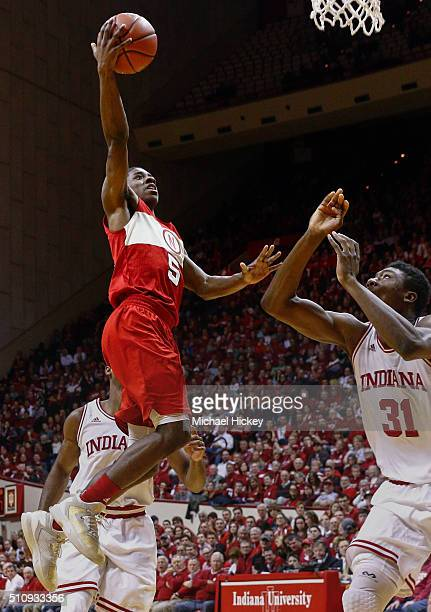 Glynn Watson Jr #5 of the Nebraska Cornhuskers shoots the ball against Thomas Bryant of the Indiana Hoosiers at Assembly Hall on February 17 2016 in...