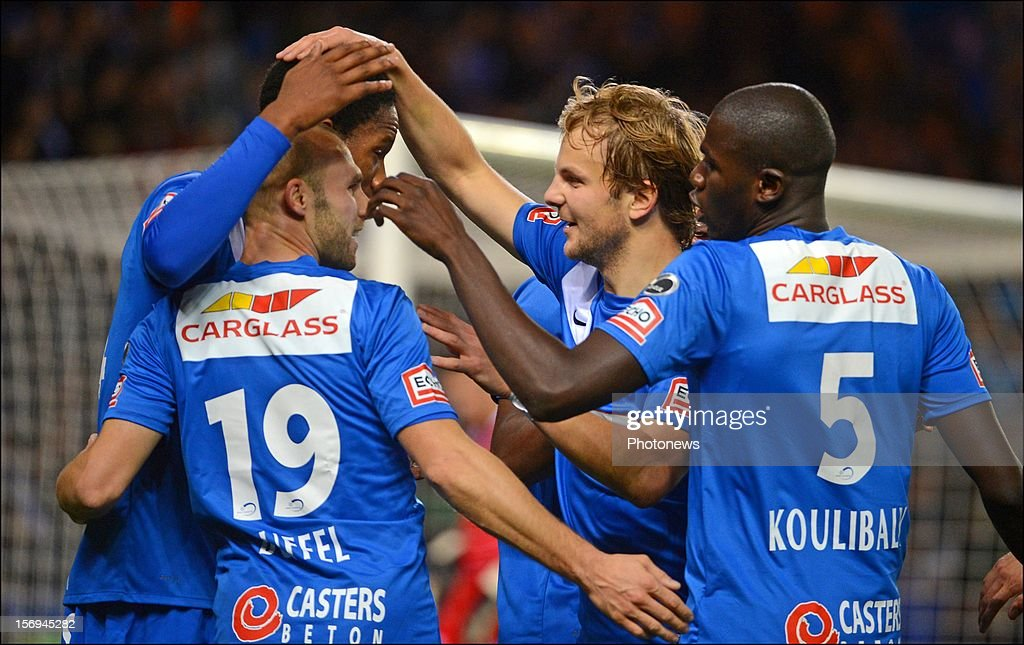 Glynor Plet and Julien Gorius of Genk in action during the Jupiler League match between KRC Genk and Oud Heverlee Leuven OHL on November 25, 2012 in Genk, Belgium.
