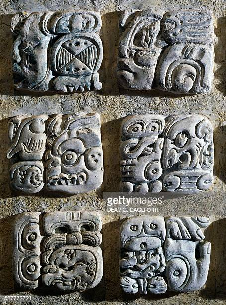 Glyphs in stucco found inside Temple XVIII Palenque Mayan civilisation Palenque Site Museum
