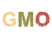 gmo, Alphabet from Organic  beans dry on white