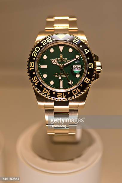 A 'GMTMaster II' luxury wristwatch produced by Rolex SA sits on display at the company's booth during the 2016 Baselworld luxury watch and jewelry...