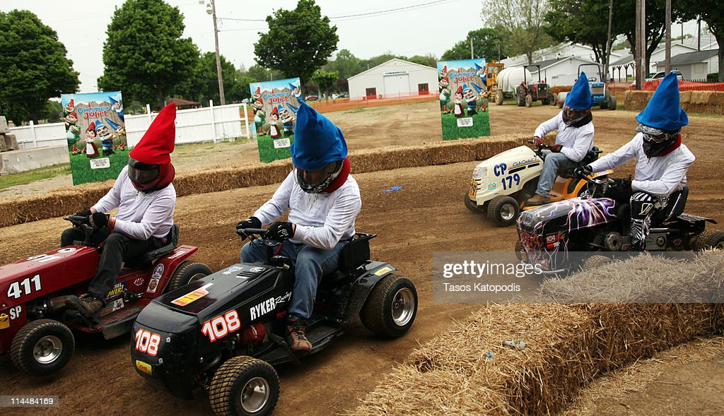 Gnome lawn mower racers compete in the Gnomeo & Juliet Mow-down Showdown hilarious lawn mower race celebrating the film's May 24th Blu-ray Disc and DVD release at Berrien County Youth Fairgrounds on May 21, 2011 in Berrien Springs, Michigan.