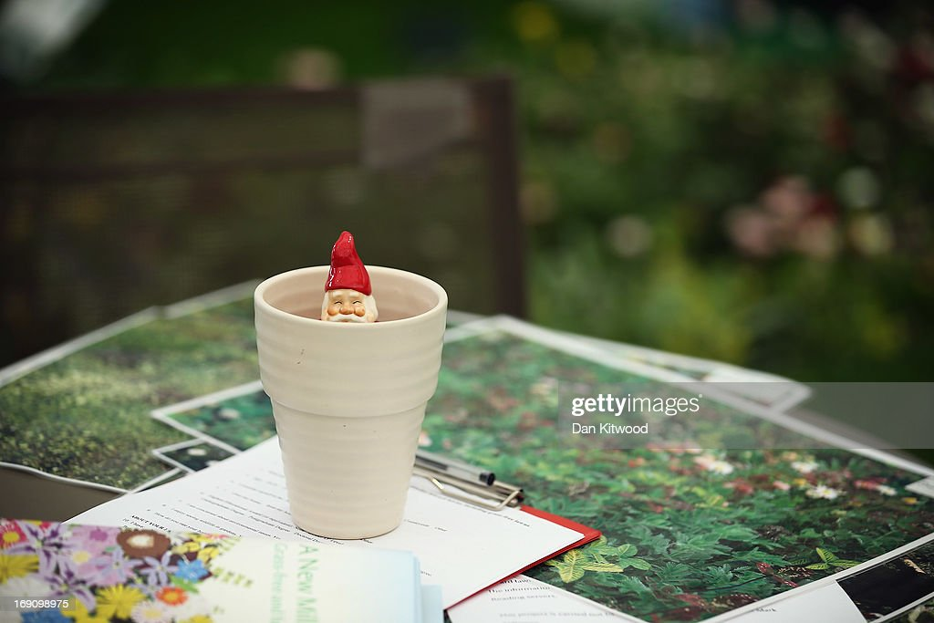 A gnome sits in a flower pot on a stand at the Chelsea Flower Show on May 20, 2013 in London, England. The Royal Horticultural Society (RHS) has lifted a ban on gnomes for this year only. The gnomes will be auctioned off as part of the 'Chelsea Centenary Appeal', and to raise funds for the RHS Campaign of School Gardening. The Chelsea Flower Show run by the RHS celebrates its 100th birthday this year.