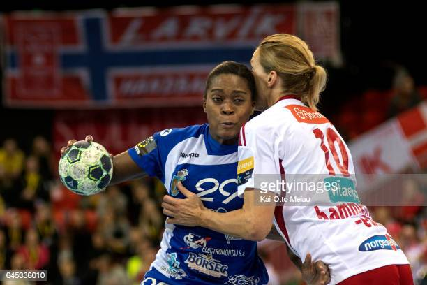 Gnonsiane Niombla and Gro HammersengEdin in the Women's EHF Champions league match between Larvik HK and CSM Bucuresti on February 25 2017 in Larvik...