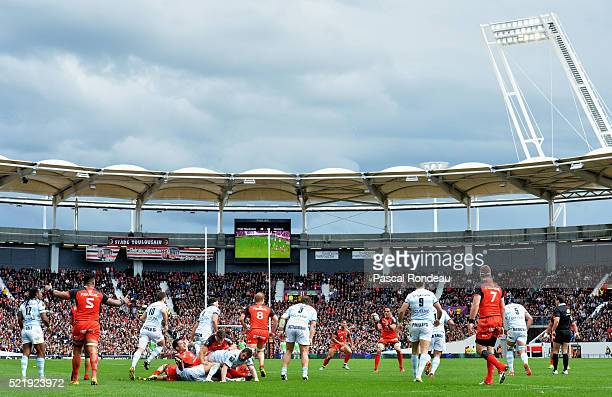 Général action during the French Top 14 rugby union match between Toulouse v Racing 92 at Stade Ernest Wallon on April 17 2016 in Toulouse France