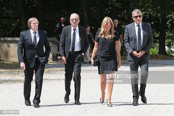 Günther Netzer Alfred Draxler Marion Popp Wolfgang Niersbach during the memorial service for Stephan Beckenbauer at church 'St Heilige Familie' on...